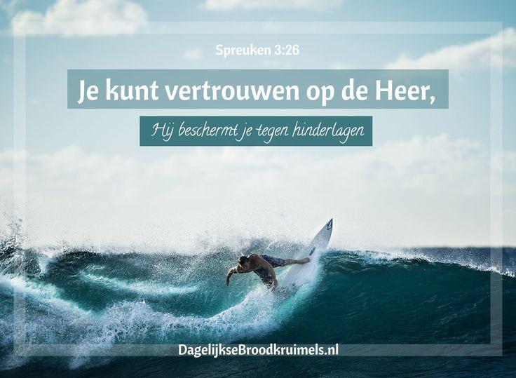 Je hoeft niet bang te zijn wanneer je slapen gaat, je slaap zal vredig zijn. Je hoeft geen angst te hebben plotseling te worden opgeschrikt door onheil dat van goddelozen komen. Je kunt vertrouwen op de Heer, Hij beschermt je tegen hinderlagen. Spreuken 3:24-26  #Angst, #Heer, #Nabijheid, #Vertrouwen  http://www.dagelijksebroodkruimels.nl/spreuken-3-24-26/