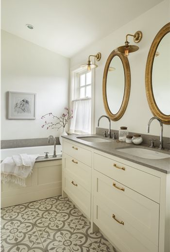 Decorating With Mirrors Bathroom Round Gray And White Patterned Encaustic Tile Floor Cement Countertop Designed By Sophie Burke