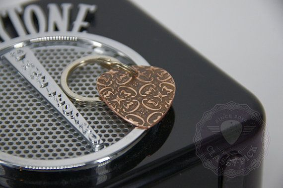 Rustic guitar pick keychain for guitar lovers  musicians