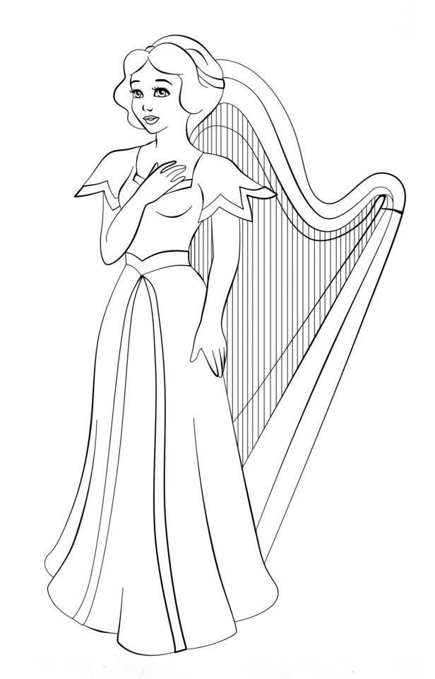 melodie the music fairy coloring pages   91 best Harp images on Pinterest   Music, Clothes and Colours