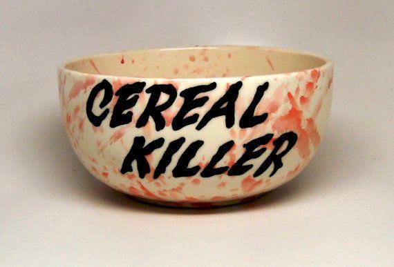 "Cereal Killer Cereal Bowl, Cereal Killer, Bowl, Serving Bowl, Dinnerware, Play-on-Words ""Cereal Killer"", Gift"