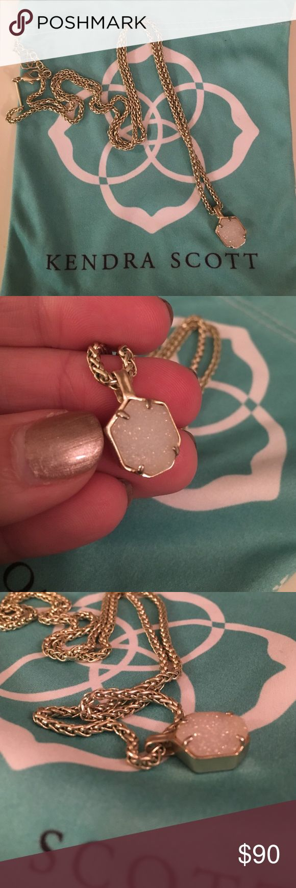 Kendra Scott Oliver Necklace Iridescent druzy and gold Oliver pendant necklace. Worn twice and in mint condition. Perfect for layering! Kendra Scott Jewelry Necklaces