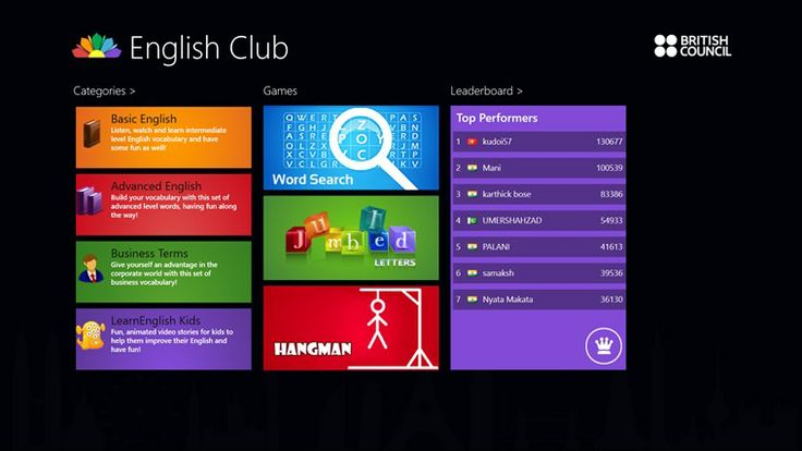 English Club // English Club contains a range of fun-filled language learning resources presented in an entertaining and often humorous format through animated videos. These include: basic words, advanced words, business terms, hangman, jumbled words, stories for kids etc – all of which you can access to learn English and have fun on the go! Great for ESL.