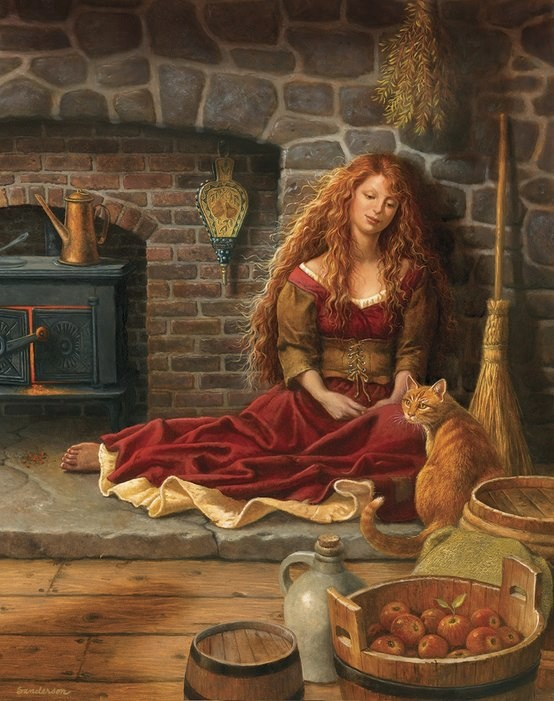 Irish girl by fire #barefootAutumn, Witchy, Witches, Art, Pagan, Gingers Cat, Ruth Sanderson, Cinderella, Cat Lady