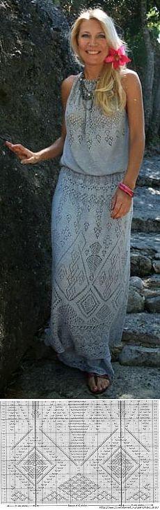 """Платье спицами """"Атлантида"""" от Жаннетты Мирмизетты. Вязали на Осинке. Шетландское кружево."""