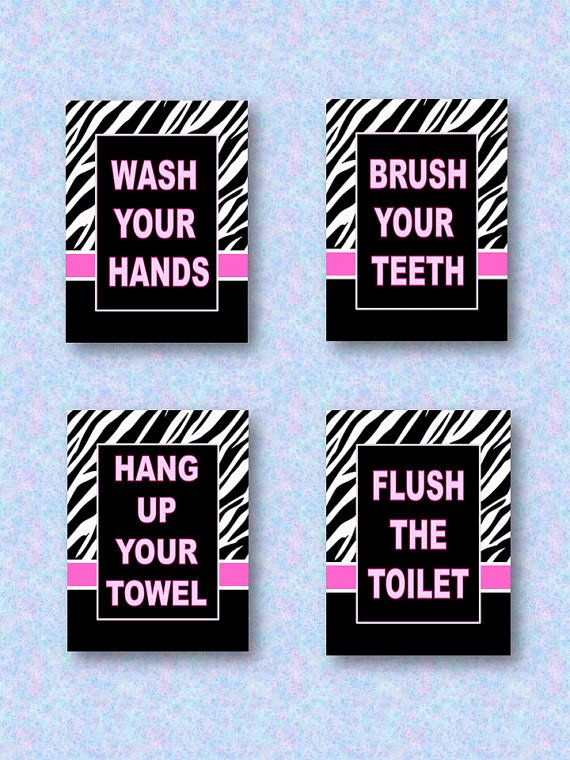 Wash Brush Flush Floss Zebra Print and Hot Pink Wall Art 5 x 7 Prints for Kids Bathroom
