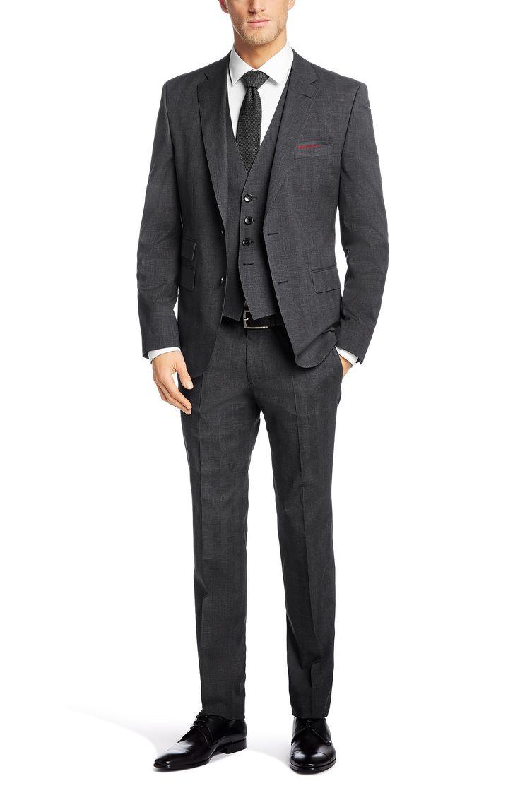 Slim-fit 3-piece suit 'Norman/Ben WE' in cotton blend
