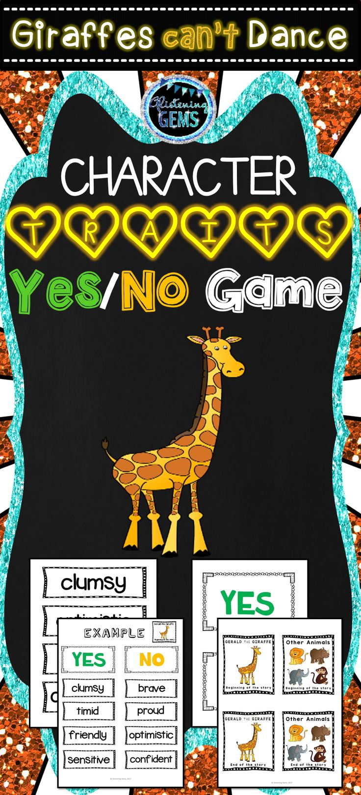 Giraffes Can't Dance - Character Traits Game. Fun and interactive game for the whole class to play or play in pairs of a small group.