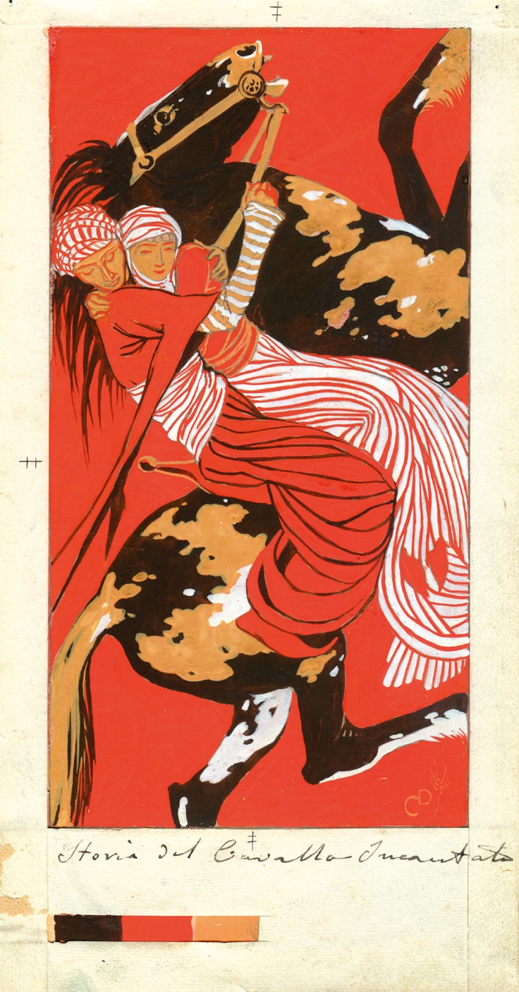 Duilio Cambellotti (1876 – 1960) | Arabian Nights, The Story of the Enchanted Horse, Temperas on paper, 1912-13