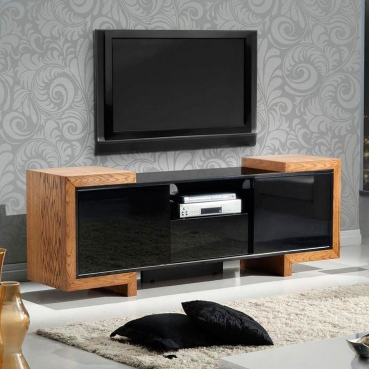 contemporary media console furniture. furnitech contemporary tv stand media console for flat screen and audio video installations with a high gloss black lacquer case u0026 oak end caps up to furniture