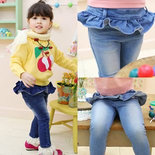 2013 autumn korean version of the new childrens clothing children lotus leaf lace baby girl jeans long pants 6231 only $13.49USD a Piece