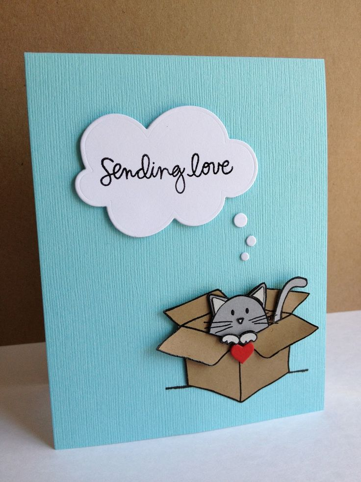 handmade card ... stamped and pieced cardboard box with a cat peeking out ... way toooo cute ... (Are you thinking about Maru the Japanese YouTube cat about now?) ... luv the die cut thought cloud with graduated sizes of bubbles floating up to it ... Simon Says Stamp
