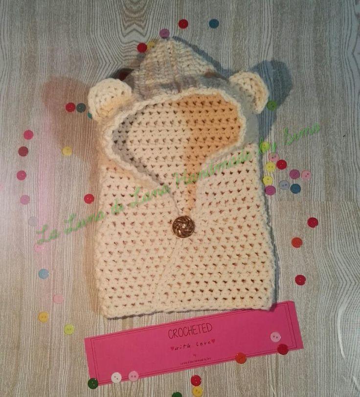 Cappuccio a forma di orsetto con scalda collo per bambino o bambina, by La Luna di Lana - Handmade by Simo, 25,00 € su misshobby.com