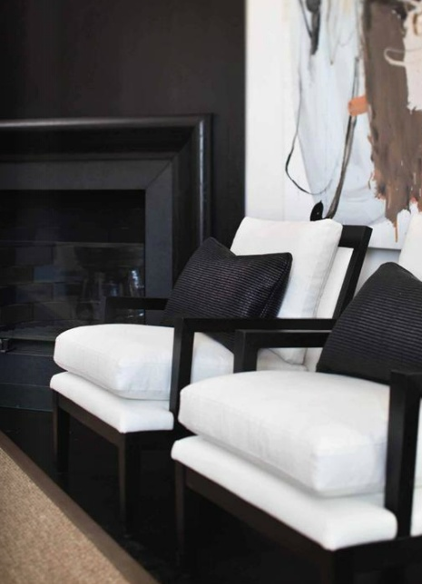 black fireplace - chic black and white styling with a hint of coffee in the artwork - Slettvoll