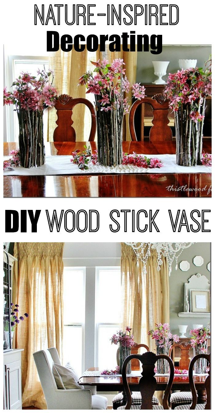 Create this free and easy centerpiece with sticks and hot glue.  Easy DIY nature-inspired project.  thistlewoodfarms.comDining Rooms, Nature'S Inspiration Projects, Easy, Dining Room Tables, Sticks Candleholder, Vases, Diy Woodsy Decor, Diy Nature'S Inspiration, Diy Projects