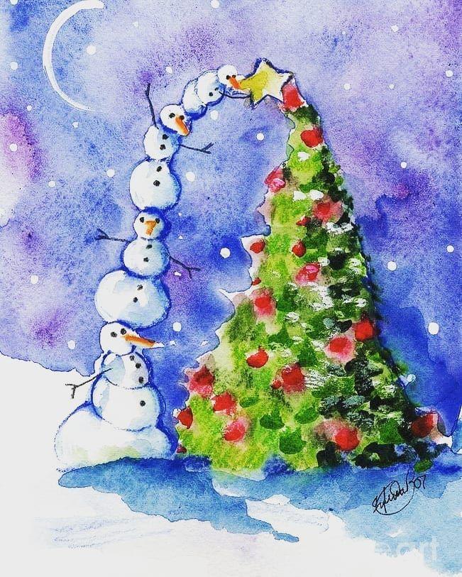 Новогодние картинки с елочками нарисовать видео акварелью, прикол для сауны