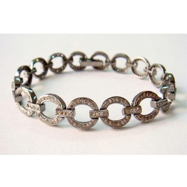 Rose Cut Diamond Sterling Silver Wedding Bracelet