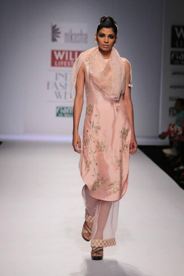 beautiful blush pink kameez w/ transparent salwar http://www.Nikasha.com/homepage.html @ #WIFW 2014