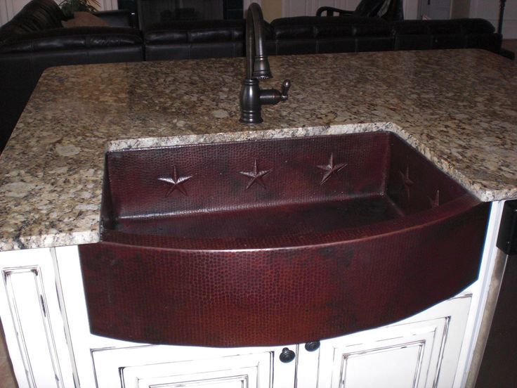"""Picture of 36"""" Large Round Front Star Motif Copper Farmhouse Sink"""