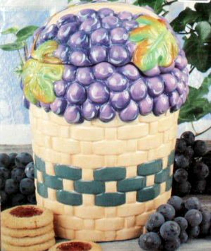 This basket of grapes cookie jar is a cute accessory for a for Wine and grape themed kitchen ideas