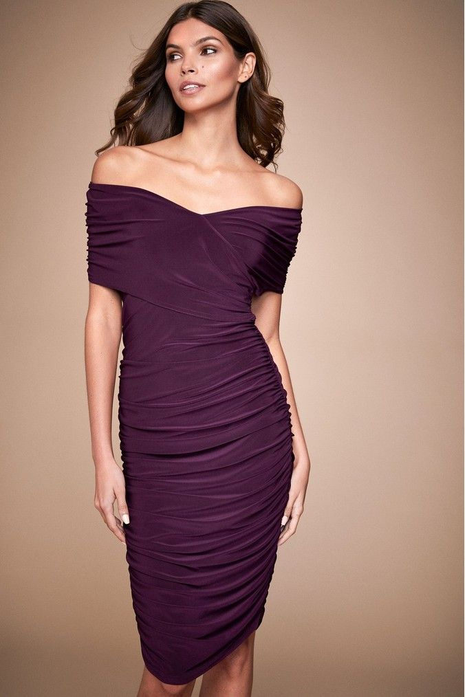 Womens Lipsy Slinky Bardot Dress Purple Dresses Bardot Dress Lipsy
