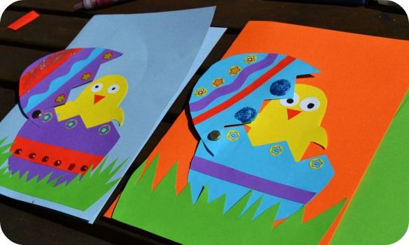 Easter Card Idea Made it for Easter 2012. Worked out great... tip- make sure the top half of cracked egg is bigger than bottom half to cover the chick.