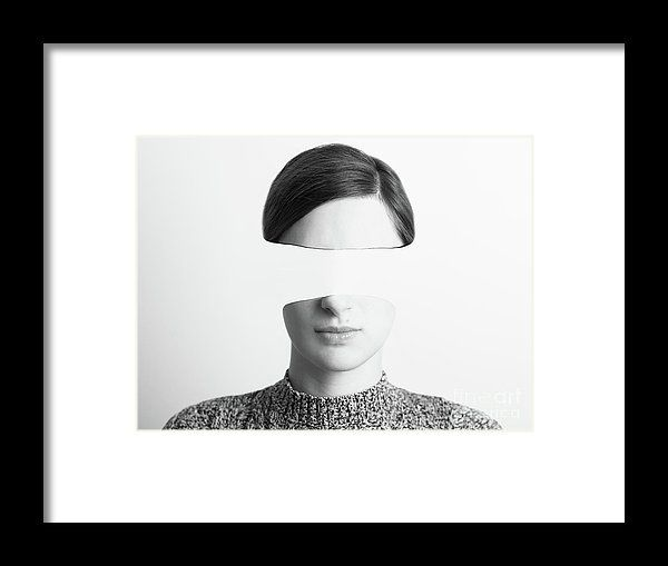 Black And White Abstract Woman Portrait Of Identity Theft Concept Framed Print