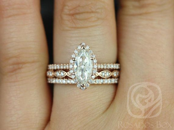 sasha xmm u christie kt rose gold marquise fb moissanite and diamonds halo trio wedding set de la bodadeseos