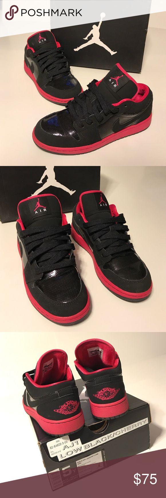 Air Jordan 1 Low Cherry GS 5Y Girls Air Jordan 1 Low Grade School Size 5Y Black/ Voltage Cherry , comes in original Box Jordan Shoes Sneakers