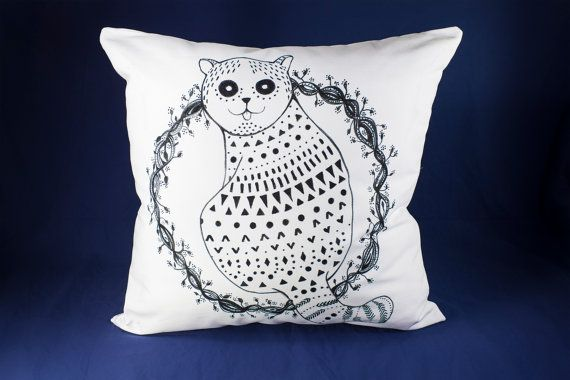 9 by 19 Hand-drawn illustration on pillow Snowball by detcraft