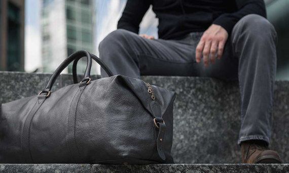 Real Leather Duffle / Duffel Bag by Fox Archer - Classic Black Leather Duffle Weekend Holdall Bag