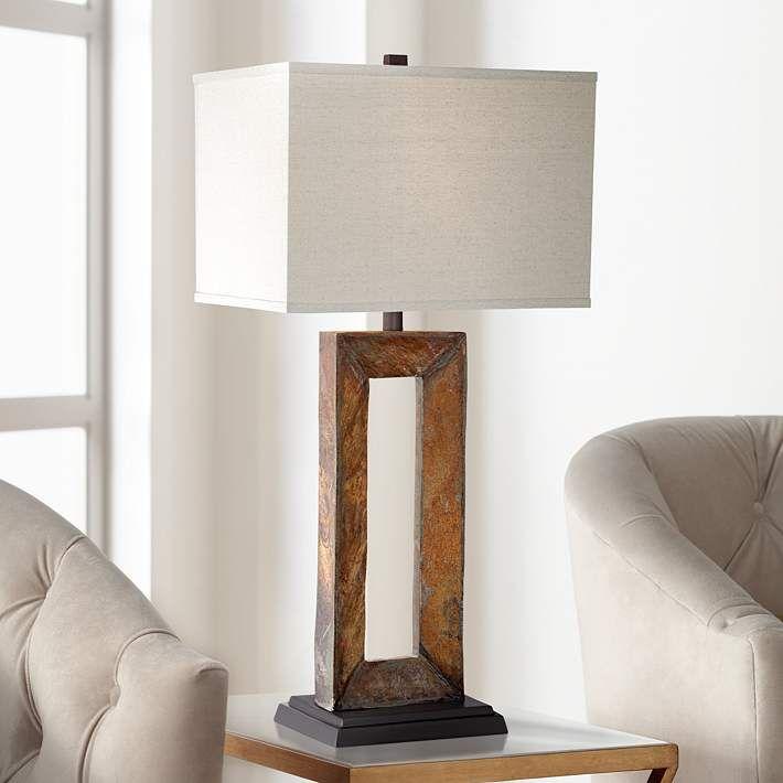 Taos Large Rectangular Slate Table Lamp