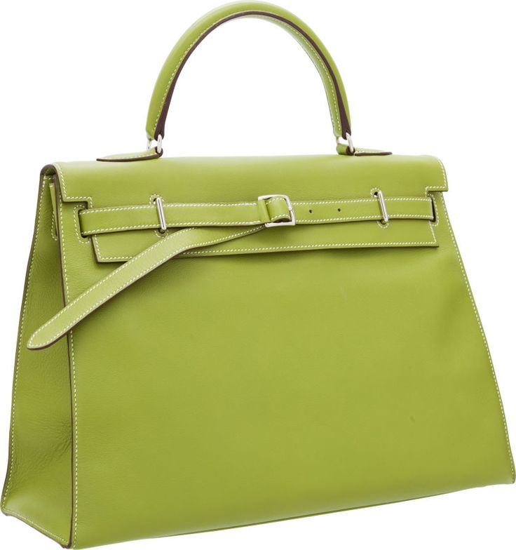 Hermes 35cm Vert Anis Swift Leather Kelly Flat Bag with Palladium ...