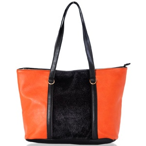 Show some signature style with this sleek, salmon orange faux leather bag paired with jet black velvet centre panel. Shop Now: http://www.tajonline.com/gifts-to-india/gifts-AR5449.html?aff=pintrest2013/
