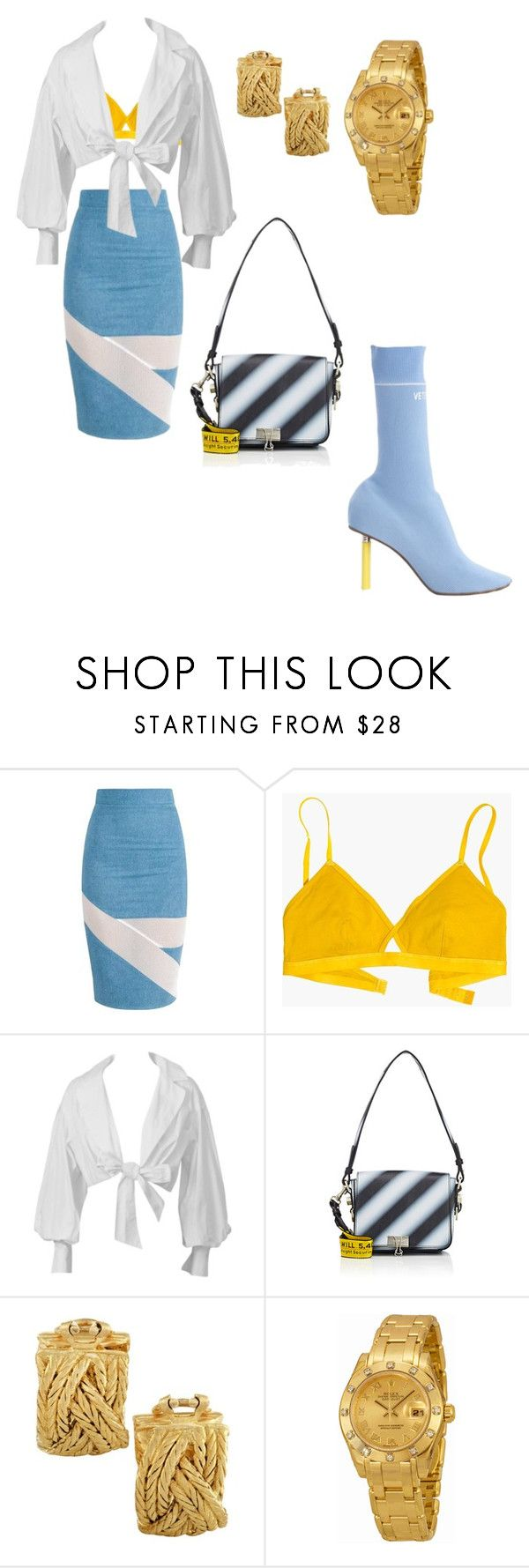 """🔦SHINING🔦"" by chanelgholson ❤ liked on Polyvore featuring Madewell, Montana, Off-White, Buccellati, Rolex, Vetements, Blue, Womens, offwhite and vetements"