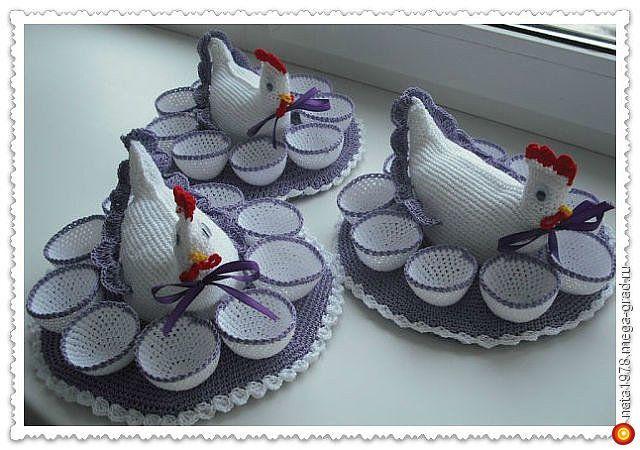 курочка-подставка для яиц - вязание и вышивка, плетение, подарки на крещение, пасху. МегаГрад - online выставка-продажа авторской ручной работы