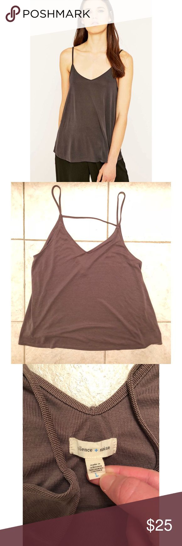 "Silence + Noise Brown/Gray Corinne Tank Top NWOT Better than basic seevless V-neck/V-back tank top in the softest smoothest jersey. Urban Outfitters exclusive. Length approx 28"". Sold out online. Super comfortable. Great with a mini skirt or skinny jeans! Last picture shows how you can wear it.   • Fast shipping! Same day/ Next morning depending on when purchased.  • Bundled discounts silence + noise Tops Tank Tops"