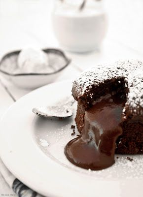 Chocolate Molten Cake - It's simple, delicious and it's only takes about 12 to 15 minutes depending on the size.