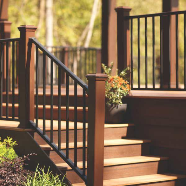 This aluminum deck railing has a sleek, modern look, unparalleled strength and a powder coating that allows the aluminum to retain color and resist corrosion. | Photo: Courtesy of Trex.com | thisoldhouse.com