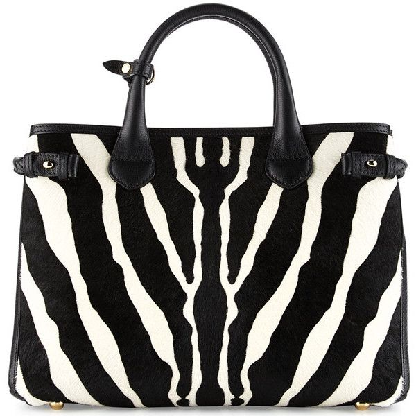 The Statement Handbag Burberry Banner Zebra Calfhair Tote ❤ liked on Polyvore featuring bags, handbags, tote bags, handbag purse, summer handbags, purse tote bag, burberry purses and tote purses