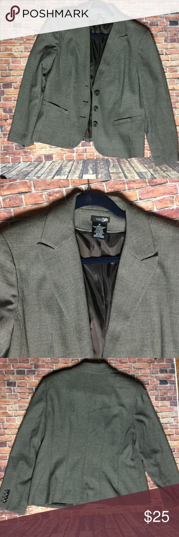"Career wear staple tweed look blazer sz 16 euc East 5th sz 16 tweed like blazer. Three buttons polyester lined. Material exterior is polyester, rayon, spandex. Faux pockets. Armpit to armpit 22"". No flaws that I can see. Gray, brown, black color. Don't pass this deal up. Career wear staple. East 5th Jackets & Coats Blazers"
