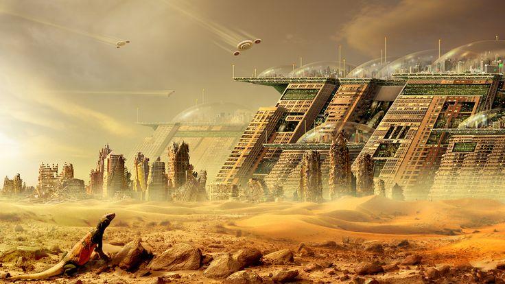 Science Fiction Ville  Science Fiction Cityscape Future Technologie Navire Dome Désert Monitor Lézard Ruine Fond d'écran