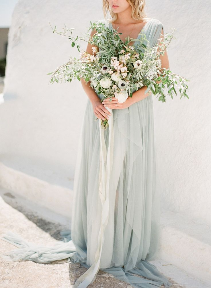 Ethereal Greece Bridal Inspiration in a Blue Dress by Vasia | Wedding Sparrow