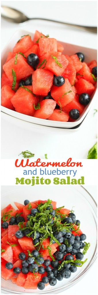 Watermelon and Blueberry Mojito Salad…This refreshing salad gets a little tipsy! 80 calories and 2 Weight Watchers PP | cookincanuck.com #vegan #recipe