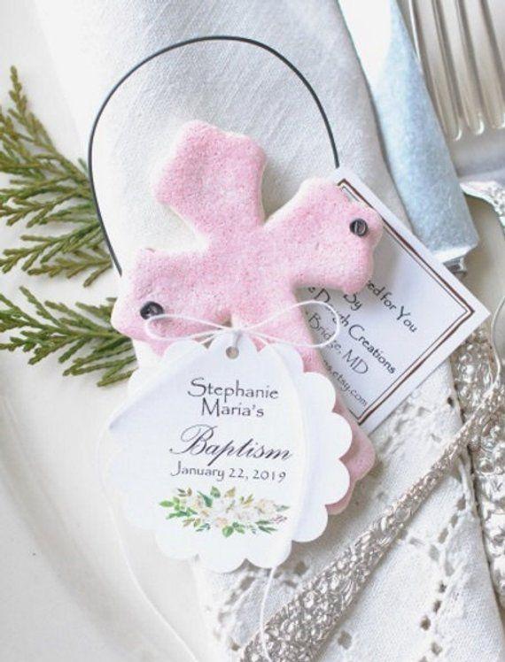Personalized or Plain Baptism Cross Salt Dough Ornaments Set of 6 Gift Ornaments Baptism Favors