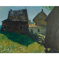 Helmut Gransow: OSCAR'S FARM, 1965, oil on board; signed 24 ins x 30 ins; 60 cms x 75 cms Est. $700/900  Realised: $3240 Auction Date: 03/15/2012  Joyner Canadian Art Online Auction