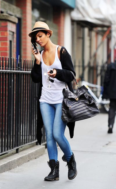 fedora, loose tank and cardigan sweater with military boots. Frankie Sandford, I love you.