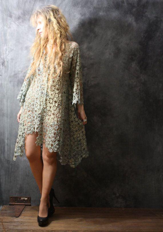 Vintage Bohemian Gypsy Crochet Lace Dress Hand Dyed by MajikHorse