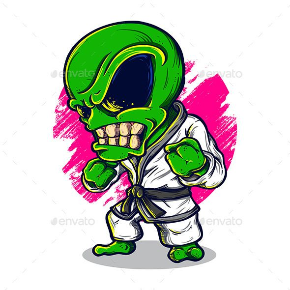 Alien Karate by AngBay A cartoon illustration of an alien wearing karate suit