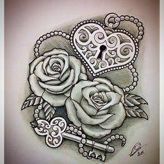 """Roses with Heart-Shaped Lock & Key"" by @leepawleytattooartist via http://ink361.com/app/users/ig-228402515/leepawleytattooartist/photos"